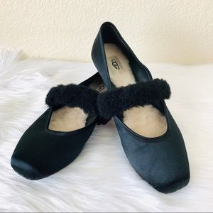 {Ugg} Lena Black Satin Fluff Ballet Flats